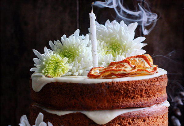 Spiced Orange Cake with Mascarpone and Poached Oranges