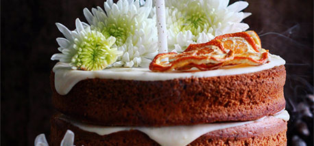 Spiced Orange Cake with Mascarpone and Poached Oranges