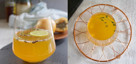 Passionfruit and dessert wine cocktail